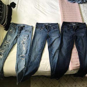 AE size 0 skinny jeans bundle!!!